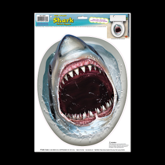 Killer shark toilet seat topper cling luau birthday party