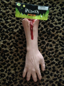 Life Size Bloody SEVERED ARM with HAND-Butcher Chop Shop Meat Market Morgue Autopsy Body Parts Hannibal Cannibal Dexter Serial Killer Walking Dead Halloween Props. Creepy Gag Gift Haunted House Decoration. Horror prop won't cost you an arm and a leg!