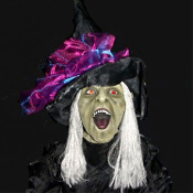 Life-Size ANIMATED STANDING WICKED WITCH Halloween Prop Decoration-Dementia - with spooky cackling voice sound effects, glowing light-up eyes and terrifying expression. Beware taking apples from her cauldron. This evil witch offers up pure fright!