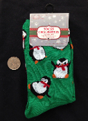 Cute Punk Novelty TUMBLING PENGUINS CREW SOCKS- Fun Winter Bird Holiday Christmas Stockings Costume Clothing Apparel Accessory-Green, Black and White with Red accents, fit women's 9-11. Adorable Secret Santa Gift!