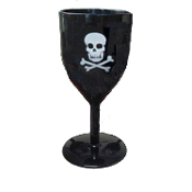 Halloween-BLACK GOTHIC GOBLET-Costume Party Cup Wine Drink Glass - Medieval Steampunk Cosplay Vampire Witch Wizard - SKULL & CROSSBONES - Potion Cup Drinking Vessel - Holds 14 ounces of your favorite beverage!