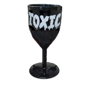 Halloween-BLACK GOTHIC GOBLET-Costume Party Cup Wine Drink Glass - Medieval Steampunk Cosplay Vampire Witch Wizard Alchemy - TOXIC Word Design - Potion Cup Drinking Vessel - Holds 14 ounces of your favorite beverage!