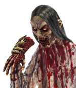Creepy Life Size Standing Bloody Demon Ghoul ZOMBIE MAN EATER Undead Monster She-Devil Haunted House Prop Halloween Costume Party Decoration-6 Feet Tall. Even the walking dead will run for cover! Scary haunting gluttonous gnawing on a skinned arm.