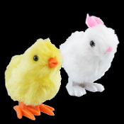 Cute Easter Fuzzy Plush WHITE JUMPING BUNNY and HOPPING YELLOW CHICK WIND UP TOYS Fun Novelty Springtime Holiday Birthday Party Favors Mini Props Decorations- Easter basket stuffers, fillers, prizes SET will keep kids hopping at any parade egg hunt!