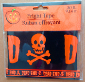 Spooky Graveyard Skull Walking Dead--DEAD END--BARRICADE FRIGHT CAUTION TAPE Haunted House Halloween Decoration Costume Party Gothic Decor Prop Building Accessory. 30-ft Plastic police warning sign border ribbons create the scariest house on block!