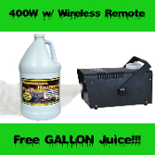 FOG MACHINE 400W w WIRELESS REMOTE-FREE GALLON JUICE -Halloween Party Prop Haunted House DJ Band Dance Club Disco Rave Special Effects FX - Compact metal box fogger. Lighter, easier to handle. Activate with included controller up to 30 feet away!
