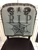 Over-the-Hill Retirement Gag Gift Spooky Gothic-RIP TOMBSTONE SKULL SPIDER WEB CHAIR COVER-Creepy Cemetery Graveyard Halloween Haunted House Vampire Witch Zombie Pirate Cosplay Costume Party Horror Decoration-GRAY / BLACK Non-Woven Fabric.