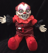 Creepy KILLER CLOWN HAUNTED DOLL with SOUND has a spooky face and crazy evil eyes. Scary unsettling haunted circus gothic toy monster talking dolly Halloween haunted house prop decoration. Raspy demented voice with eerie carnival background music.