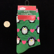 Funky Cute Punk Novelty Glitter PENGUINS HEARTS CASUAL CREW SOCKS- Fun Winter Bird Holiday Christmas Lolita Love Diva Cheer Stockings Cosplay Costume Clothing Apparel Accessory-Multi-Color GREEN PINK. Adorable Secret Santa Gift!