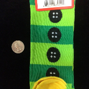 Funky Green Holiday Novelty SANTA ELF CLOWN BUTTON STRIPE KNEE HIGH SOCKS-Christmas Stockings Rockabilly Lolita Clothing Accessory-Cute Punk Fun Costume Team sports, soccer, volleyball, cheerleading, cheer accessories-Teen Unisex Women