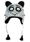 Trendy new cozy warm winter deluxe Peruvian Laplander unisex pilot style funky novelty soft stretch acrylic knit beanie hat, fleece lining, features licensed Disney Frankenweenie SPARKY Dog design cartoon character cap with braided earflap tassels.