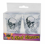 Pick your poison! Gothic Scary Skeleton SKULL SHOT GLASS SET Drink Glasses. 4pc Bar Kitchen Dining Decor Shooters Halloween Costume Party Decorations. Cosplay medieval steampunk biker, vampire, witch, zombie Walking un-Dead potion drinking game prop.