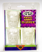 Pick your poison! Gothic Scary Skeleton Human SKULL GLOW-in-DARK dimensional molded heads 3pc SET. Perfect for serving a shot of your favorite blood! Walking Dead zombie Halloween party potion drinking game Biker Medieval Steampunk Cosplay Shooters.