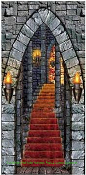Gothic Window Wall Decor CASTLE ENTRANCE DOOR COVER Spooky Medieval Halloween Decoration Vampire Lair King Queen Knights Theme. Create-a-Scene Setter, Wall Window Mural, Backdrop, Table Cloth Cover, Haunted House Decoration, Party Scenery Prop.