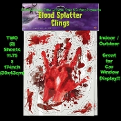 Realistic LIFE SIZE BLOODY HAND PRINTS SPLATTER CAR DECAL CLINGS Window Door Mirror Sticker SET - Halloween Haunted House Morgue Horror Decorations -Walking Dead CSI Dexter Psycho murder victim scene spatter. Creepy man-size blood smeared handprints.