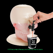 Gothic Pirate Theme Skeleton Head Cold Drink GIANT SIZE SKULL SHAPED BEVERAGE DISPENSER Halloween Horror Haunted House Prop Decoration-Holds TWO Gallons Water Punch Soda-Kitchen Dining Buffet Centerpiece Decor-COLD drinks only. Not for hot beverages.
