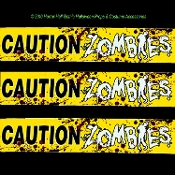 Bloody Walking Dead Apocalypse Warning-CAUTION ZOMBIES-Police Barricade Fright Tape Border-Cheap Horror Props Halloween Party Decorations-Red Blood-Spattered Yellow, White, Black Plastic Ribbon. Wrap tables, swag windows, mantel, door toppers-20 ft