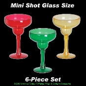 Mini MARGARITA SHOT GLASS SET-Luau Tiki Bar Drink Cocktail Bachelorette Birthday Party Favors Halloween Decorations-Miniature Shooters- 6 piece SET - Great for Rave, Pool, Beach, Graduation, Drinking Games, Fun Girls Night Out! BLACK LIGHT REFLECTIVE