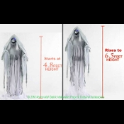 Creepy Life Size ANIMATED RISING PHANTOM Demon Grim Reaper Deluxe Animatronic Zombie Halloween Horror Prop Gothic Haunted House Speaking Greeter. 6.5-Ft Tall Spooky Standing Scary Light-up Sound Motion-Activated Talking Death Angel Haunt Decoration.
