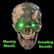 Meet Life Size Animated Undead Fred, he won't bite…or will he? He wants BRAINS! Hanging severed zombie human skull head has scary realistic decomposing sculptural detail. Sound activated light-up eyes and moving mouth with creepy hungry growling.