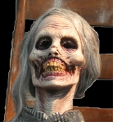 Perfectly preserved, classic deluxe latex Psycho inspired animatronic realistic Life Size Mother slowly rocks back and forth. Creepy life-sized animated sitting Halloween haunted house prop decoration has metal armature and heavy duty electric motor.