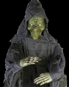 Just the classic spooky horror decoration needed for your next haunted gathering! 6-Ft long Life size Wicked Witch hanging prop has a creepy green head and hands, draped black gauze garment and poseable arms. Indoor or covered porch use only.