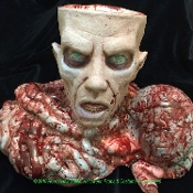 Deluxe Life Size Severed Human Zombie Head with Scattered Brain and Bowel Candy Bowl. Just what you need to scare party guests. Perfect candy bowl display server for any haunted house or Halloween costume party! High quality foam filled latex.