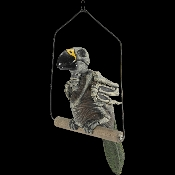 Oh, no! Polly's DEAD? Life Size Realistic Creepy ZOMBIE SKELETON GHOST PARROT DEAD BIRD Pirate Prop Building Decoration. Skeletal Aviary Walking Dead inspired Parrot is here to greet your Halloween Haunted House and Horror Circus Carnival guests.