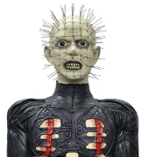 Hellraiser Pinhead, the ultimate cenobite torturer! Life Size Hard-foam Prop with three-dimensional torture implements hanging from his waist. 6-feet tall. Great for any horror theme party. Halloween Haunted House Prop Decoration.