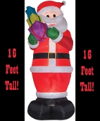 Colossal 16-foot tall airblown inflatable Santa Claus! Lights up and self-inflates in seconds. Fun holiday prop yard indoor or outdoor decoration. Weather resistant poly nylon fabric. Deflates for easy storage. Includes: Tethers, Stakes, Fan, Lights.