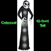 Giant Scary Wicked Reaper Lighted Airblown Halloween Inflatable Yard Prop Decoration. 12-feet tall! Enormous amazing character for any haunted house cemetery graveyard lawn decor. Made of weather resistant poly nylon fabric for durability.