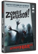 Animated AtmosFEARfx ZOMBIE INVASION! Digital Special Effects FX DVD Decoration. Frightfully entertaining! Watch as zombies try to get through the wall or window! Four displays: standard, shadow, interior, exterior. Includes landscape and portrait.