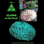 Realistic Life Size Zombie Food GLOWING HYBRID ALIEN HUMAN BRAIN Mad Scientist Laboratory Morgue Autopsy Organ Body Part GLOW Toxic Biohazard Butcher Banquet Chop Shop Meat Market Creepy Haunted House Halloween Prop Decoration Costume Accessory