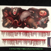 New Realistic Bloody RATS INFESTATION FLOOR GORE STICKER SET Creepy Appliance Cling Decal Grabber Gothic Halloween Zombie Horror Prop Decoration Joke Gag Scene Setter-Use on Toilet Tank, Ceiling, Wall, Mirror, Window, Door, Locker, Refrigerator, etc.