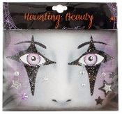 GOTHIC WITCH HARLEQUIN CLOWN-Stick on Eye Wear Glitter Sequin Tattoo Decal with Spider Web. Eye Shadow Face Art Sticker. Temporary Tattoos Transfer Faux Rhinestone Gems Makeup Special Effects Cosmetic Accessory, as pictured. Easy removal.