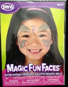Magic Fun Faces Glitter Tattoos-LOVE HEART KISS-Colorful Stick Tattoo Decals. Eye Shadow Face Art Wear Sticker. Fake Temporary Transfers Special Effects Instant Cosmetic Accessory, pictured. Add your own makeup. Easy application, removal. Lasts days.
