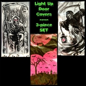 Spooky Gothic LIGHT UP DOOR COVERS WALL MURALS Halloween Haunted House Horror GRIM REAPER VAMPIRE BATS flashing lighted window display photo booth colorful scene setters costume party decoration scary print with bright background lights-3-Piece SET