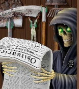 Funny Toilet Loo GRIM REAPER on the POTTY BATHROOM DOOR COVER Shower Mural Restroom Wall Decor Create-a-Scene Setter Halloween Decoration. Haunted House Backdrop, Castle Scenery, Horror Prop Accessory. Hilarious Reaper sitting on the commode reading.