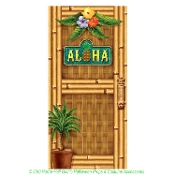 Tropical Island Scene Setter ALOHA DOOR COVER MURAL POSTER Luau Pirate Hawaiian Style Theme Beach Pool Graduation Birthday Party Colorful Bathroom Refrigerator Wall Hanging Bamboo Palm Tree Tiki Bar Decor Indoor Outdoor Photo Backdrop Prop Decoration