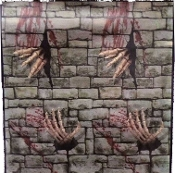 Gothic Haunted House Medieval Castle Decor Creepy SKELETON HANDS STONE WALL DUNGEON DOOR COVER WALL POSTER MURAL Spooky Window Horror Torture Chamber Prison Cosplay Costume Pirate Birthday Party Cemetery Graveyard Crypt Scary Prop Building Decoration