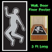 Creepy CSI Style DEAD BODY SILHOUETTE Floor Wall Door Cover Mural Poster Horror Police Detective Murder Homicide Investigation Serial Killer Scene Setter Costume Party Trim Haunted House Halloween Decoration Morgue Autopsy Photo Booth Backdrop Prop
