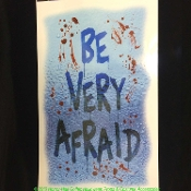 Creepy Gothic Halloween Horror Decoration - BE VERY AFRAID - Mad Doctor Zombie Monster Witch Vampire Graveyard FLOOR WALL GRABBER. Warning Tattoo Window Cling Decal Sticker Mirror Haunted House Crafts Haunt Movie Stage Theater Prop Building Supplies