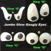 Big Pair Funny Wiggle GLOW-in-DARK GIANT GOOGLY EYES Jumbo Size Novelty Snowman Props Crafts Party Gag Decorations-Self Stick Adhesive Back-Halloween Holiday Christmas Tree, Car, Garage Door, Refrigerator, Mailbox, Water Cooler-TWO Piece Set-4 Styles