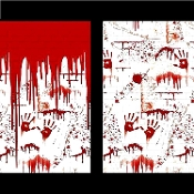The CHOP SHOP BLOODY WALL SCENE SETTER Butcher Meat Market Horror Theme Prop Gory Scenery Wall Banner Halloween Costume Party Decoration. Creepy Haunted House Photo Booth Backdrop Background. Hand prints drips splashes spatter pvc wall rolls.