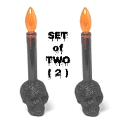 Gothic Black Glitter Human Skull Base LED Lamp Candle Light Up Lighted Scary Candlestick Decorated with Creepy Bloody Drips Halloween Holiday Home Decor Spooky Skeleton Head Haunted House Props Decorations-Free Batteries Included-TWO Piece SET