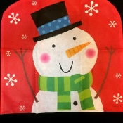 Fun Christmas Holiday FROSTY SNOWMAN CHAIR BACK COVER Decorations. Non-Woven RED Polypropylene Fabric. Novelty Traditional Classic Winter Theme Kitchen, Breakfast Bar, Dining Decor. Fits chair backs to 19-inch Wide. He's decked out, ready to party!