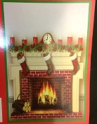 Fun Christmas Theme FIREPLACE Wall Poster Window Mural Door Decor Holiday Party Room Decoration Multicolor Photo Booth Prop Background Backdrop-Colorful Classic Santa Claus Entry-Print Plastic Sheet-Approx 35.5-inch x 40-inch (90.2 x 101.6cm)