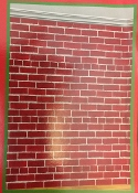 Fun Christmas Theme RED BRICK WALL Poster Window Mural Door Decor Holiday Party Room Decoration Multicolor Photo Booth Prop Background Backdrop-Colorful Classic Santa Claus Entry-Print Plastic Sheet-Approx 42-inch x 50-inch (106.7 x 127cm)