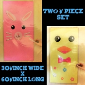 Adorable Easter Holiday Theme CHICK BUNNY SET KITS-Create Your Own Cute DIY Spring Character Faces-Wall Posters Murals Door Covers Fun Room Birthday Party Decorations Photo Booth Props Background Backdrops-Colorful PINK YELLOW Plastic Sheets-TWO PACK