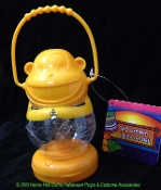 Small Plastic YELLOW MONKEY LED LANTERN Tropical Luau Theme Prop Mini Patio Table Top Lamp Night Light Decor Beach Pool Garden Pirate Birthday Party Favor Decoration-Battery Operated Fun Kitsch Animal Shape with Carry Handle -FREE BATTERIES INCLUDED